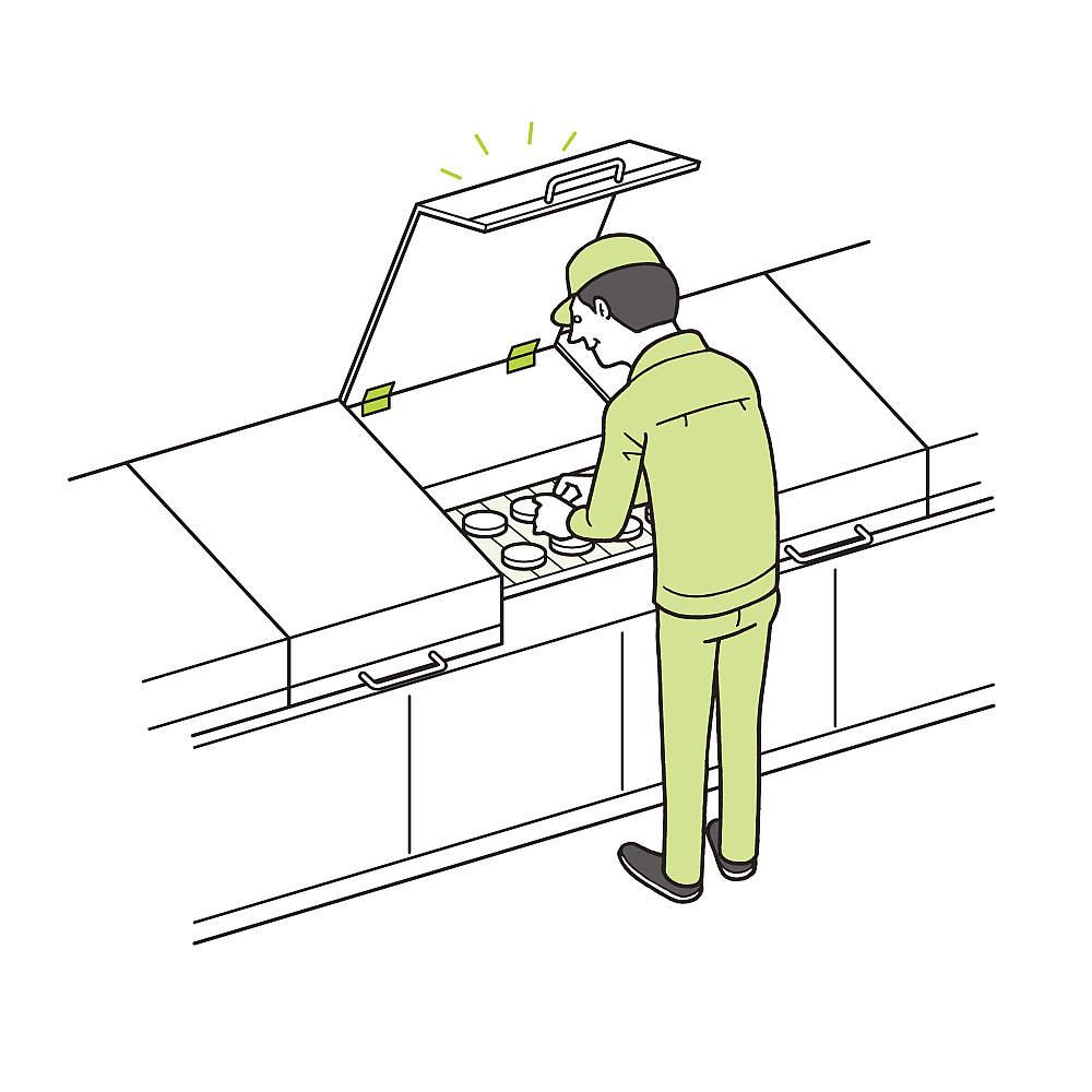 メンテナンス時に。どの角度でも、蓋がピタッと止まり安心・安全に作業できます。