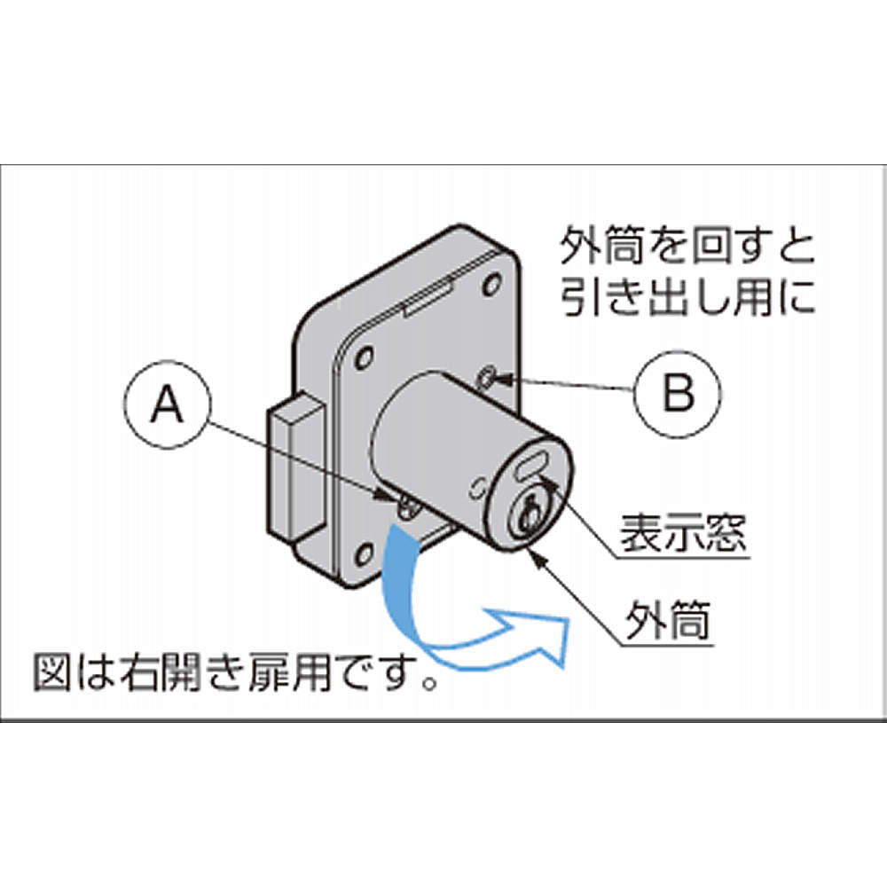 【引き出し用、右開き扉用のチェンジ】<br>左図[A]のねじを外し、外筒を正面から見て90°回した後(引き出し用へのチェンジは左方向)、外したねじを[B]の位置に締めてください。<br>外筒正面の表示窓が上になるように取り付けてください。