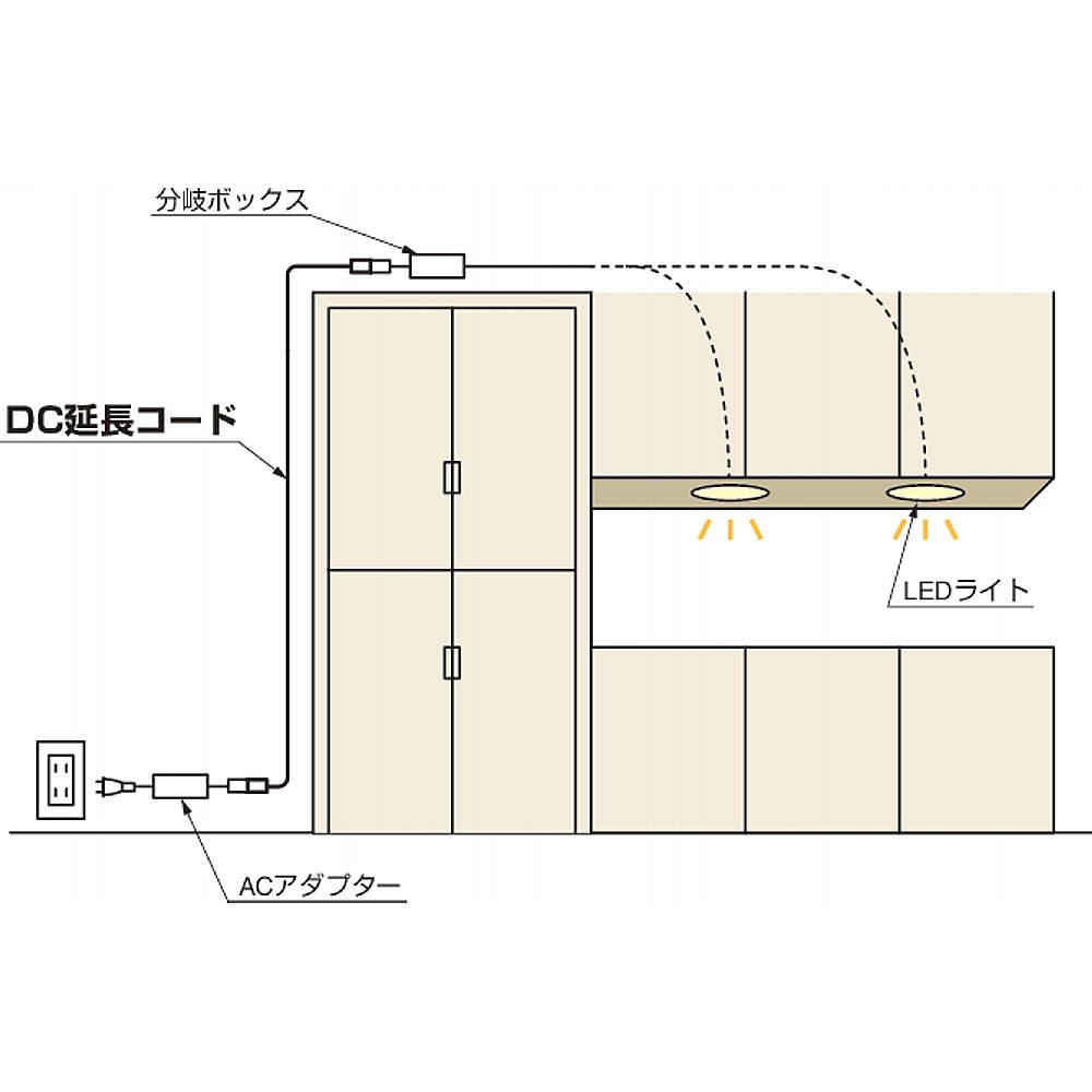 【使用例】<br>上部に置く分岐ボックスと床に置くACアダプターを接続する際に便利です。