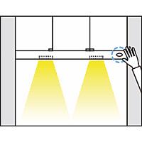 【調光方法】<br>ONの状態でセンサーに手(物)をかざし続けると光量を調節できます。